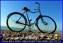 1910s BSA WW1 MILITARY FOLDING BICYCLE. Antique Vintage VERY RARE Army Soldier