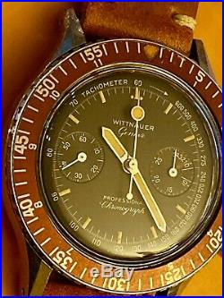 1960s Wittnauer Genève Vintage Rare Chronograph Reference 7004A Solid Stainless
