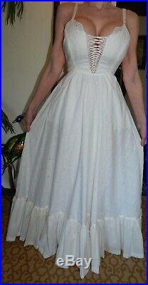 70's RARE VINTAGE GUNNE SAX WHITE EYELET CORSET WEDDING SEXY MAXI SUNDRESS