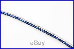 Antique 1920s $8000 20ct Blue Sapphire Platinum Engraved Tennis Bracelet RARE