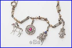 Antique 1920s Platinum 2ct Sapphire Diamond NATURAL Pearl Charm Bracelet RARE