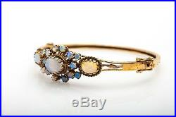 Antique 1950s 7ct Natural OPAL 14k Yellow Gold Bangle Bracelet 16g RARE