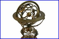 Antique Astrolabe Armillary Brass Desktop Globe Sphere Wooden Rare Vintage Gift
