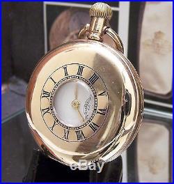 Antique C1920 V Rare Rolex Gold Plated Half Hunter Pocket Watch Serviced