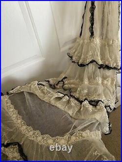 Antique Edwarian 1900s 1905 Tiered Lace Tulle Evening Gown Sheer Boning RARE