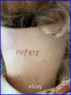 Antique French Doll Phenix Rare Original 23 1/2. Beautiful. Marked Star 93