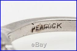 Antique Signed Peacock 1930s 1.30ct Old Euro Diamond Platinum Wedding Ring RARE