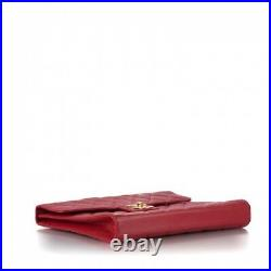 Authentic Chanel Vintage Briefcase Portfolio Work Bag in Red Caviar Leather Rare