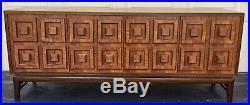 Authentic Rudowski mcm walnut veneer sideboard 4 door cabinet rare vintage retro