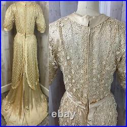 C1900-1910s Edwardian True Antique Wedding Gown Vintage Ivory Silk Dress RARE