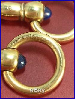 Cartier Vintage 18k Yellow Gold Sapphire Cufflinks Ultra Rare