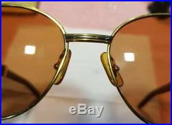 Cartier Wood Sunglass Auteuil Gold Plated Vintage Ultra Rare 135/18/55 LIMITED
