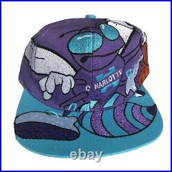 Charlotte Hornets Rare Vintage Big Logo Snapback Hat Purple