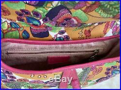 Christian DIOR Vintage Pink Flowers Saddle Bag Printed Canvas Purse Bag RARE