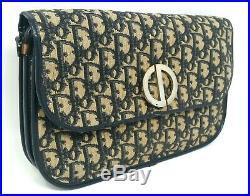 Christian Dior Oblique Trotter CD Navy Canvas Clutch Shoulder Hand Bag Auth Rare