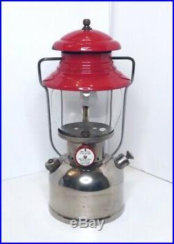Coleman 200 Nickel Lantern 12/50 Green Sunrise Globe 1950 Rare Vintage Camping