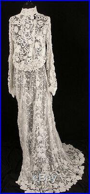 Exceptional Rare French Victorian 1800s Irish Crochet Lace Wedding Dress Sz 4-6