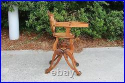 Fantastic Rare Victorian Oak Renaissance Revival Convertible High Chair Rocker