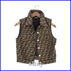 Fendi Womens Rare Vintage Zucca Ff Monogram Jacket Vest Gilet Coat 40 It