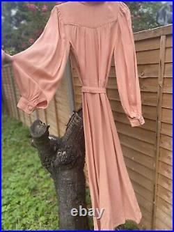 Iconic Ossie Clark Vintage Blush Pink Fine & Rare Maxi Gown / Wedding Size 6-12