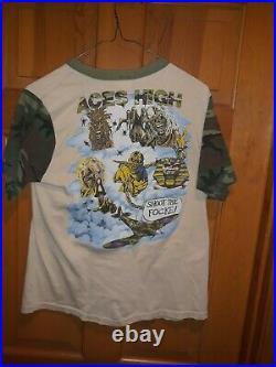 Iron Maiden Aces High Powerslave camo 1984 vintage rare XL