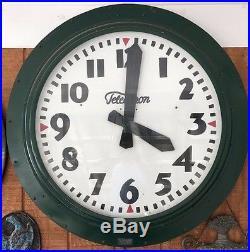 Large Vintage Antique Telechron Round Electric Wall Clock Neon 1940s USA Rare
