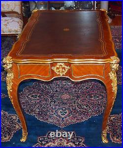 Linke C 1881 Rare Bureau Plat 3 Drawers Ormolu/ Kingwood Signed On Desk & Locks