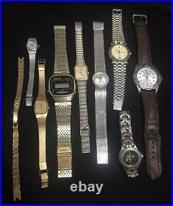 Lot Of Vintage Watches Digital Quartz, Rare Seiko, Tissot, Rolex, Gucci, Omega Etc