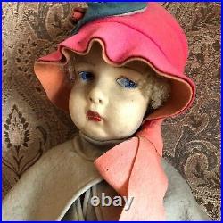 Lovely Rare 1920s Lenci Felt 22 Girl Doll