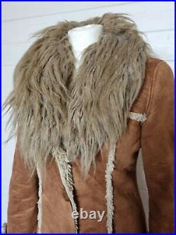 MISS SIXTY RARE Brown Faux Suede & Fur Afghan Long Coat (Size S/UK 8-10) Vintage