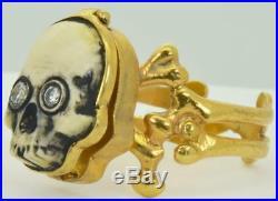 MUSEUM antique Victorian 18k gold&Diamonds Poison Memento Mori Skull ring! RARE