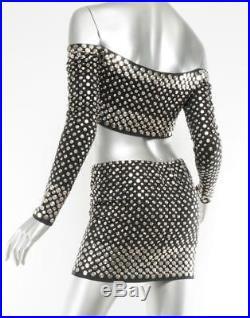 NORMA KAMALI Womens VINTAGE Black NICKEL-STUDDED Mini Skirt Crop Top Set S RARE