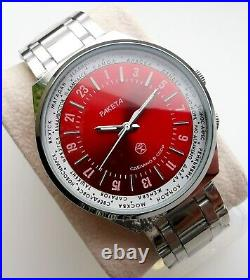 New Old Stock Raketa Pilot Military 24 Hour Movement Mineral Crystal Rare Model