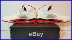 Nike Air Jordan 5 Size 12.5 1990 White Fire Red Black VTG Rare Original