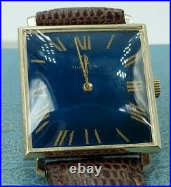 Omega 14k Gents Solid gold watch Rare Blue Dial RefD6624 Cal620-17 jewels