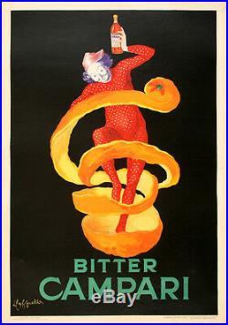 Original Vintage Poster Bitter Campari by Leonetto Cappiello 1921 RARE Italian