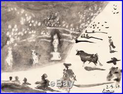 Pablo Picasso Original Hand Signed Vintage Painting Bull & Horse Modern Art Rare