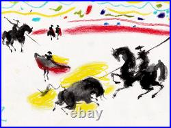 Pablo Picasso Original Hand Signed Vintage Painting Bullfighters Modern Art Rare