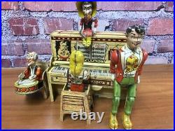 RARE 1920's ANTIQUE UNIQUE ART LIL ABNER BAND WIND-UP TIN LITHO ANIMATED VTG TOY