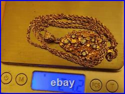 RARE 24.2 grams 14k Yellow SOLID Gold & Diamond Nugget Pendant with 14k Rope Chain