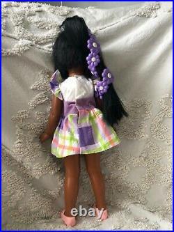 RARE 70s Vintage Ideal Daisy Black Doll Velvet Crissy Box Original Dress Works