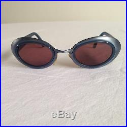 RARE 90s Vintage FENDI OVAL SUNGLASSES Blue Brushed Metal SL 7112 made in ITALY
