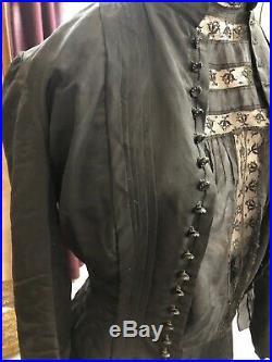 RARE ANTIQUE VICTORIAN 1880's 5 PC Black TAFFETA SKIRT TOP Mourning Dress
