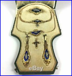RARE Antique Georgian to Victorian 22K Gold Necklace, Earrings, Brooch, Parure +
