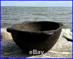 RARE Antique Native Colonial Wooden Burl Bowl 4 Handled AMERICAN Old Repair VTG