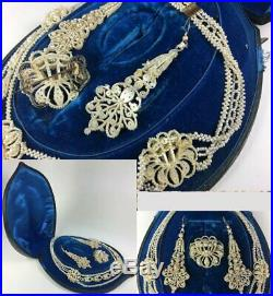 RARE Antique Victorian to Georgian Seed Pearl Parure in Box, Necklace, Earrings+