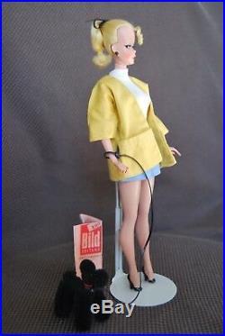 RARE HTF VTG 1950s Bild Lilli Doll 11 1/2 in Pre Barbie paper dog leash Germany