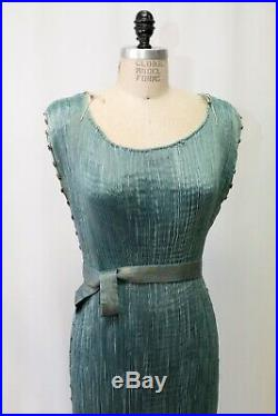 RARE Mariano Fortuny 1910s Edwardian Blue Delphos Micro Pleat Gown Glass Beads
