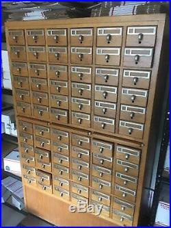 RARE Midcentury Vintage Remington Rand 72 Drawer Card Catalog Oak Storage