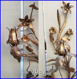 RARE Pair Antique Large Metal Wall Gilt Tole Sconce Roses Ornate Candle Holder